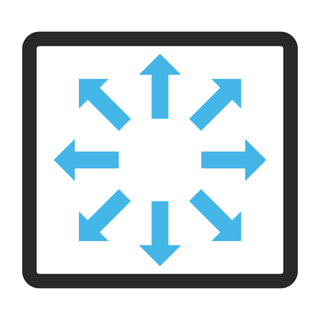 full size: Explode Arrows vector icon. Image style is a flat bicolor icon symbol inside a rounded rectangular frame, blue and gray colors, white background.