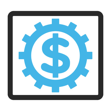 config: Financial Industry vector icon. Image style is a flat bicolor icon symbol inside a rounded rectangular frame, blue and gray colors, white background. Illustration