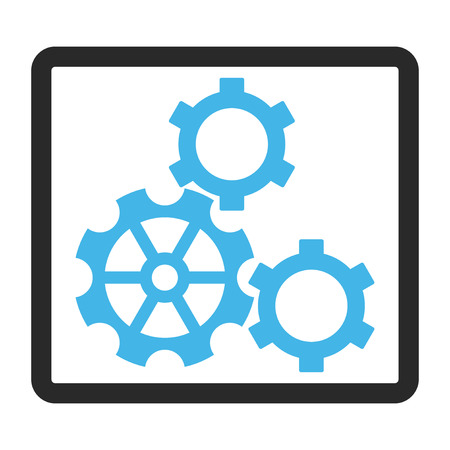 rounded rectangle: Gears vector icon. Image style is a flat bicolor icon symbol in a rounded rectangle, blue and gray colors, white background.