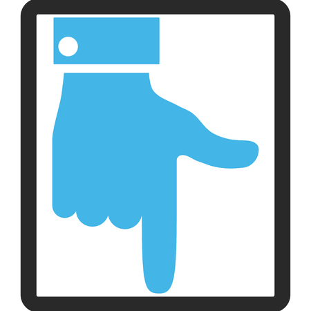vertical orientation: Hand Pointer Down vector icon. Image style is a flat bicolor icon symbol in a rounded rectangular frame, blue and gray colors, white background.