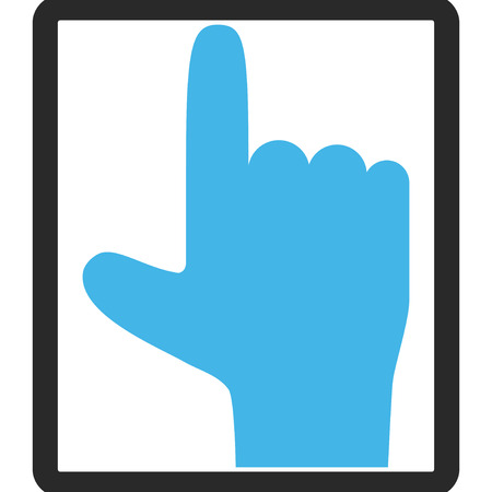 vertical orientation: Hand Pointer Up vector icon. Image style is a flat bicolor icon symbol inside a rounded rectangle, blue and gray colors, white background.