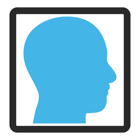rounded rectangle: Head Profile vector icon. Image style is a flat bicolor icon symbol in a rounded rectangle, blue and gray colors, white background.