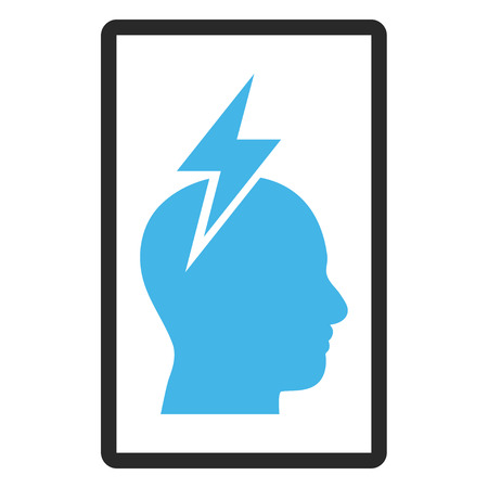 headaches: Headache vector icon. Image style is a flat bicolor icon symbol inside a rounded rectangular frame, blue and gray colors, white background. Illustration