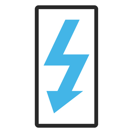 high voltage: High Voltage vector icon. Image style is a flat bicolor icon symbol in a rounded rectangular frame, blue and gray colors, white background. Illustration