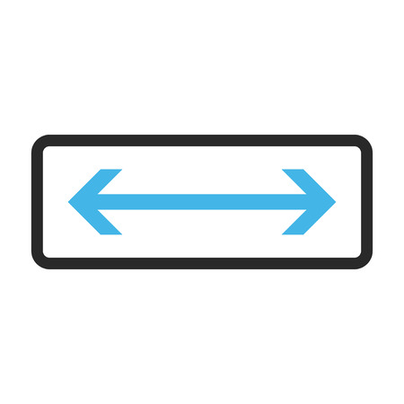 inverse: Horizontal Flip vector icon. Image style is a flat bicolor icon symbol in a rounded rectangle, blue and gray colors, white background. Illustration