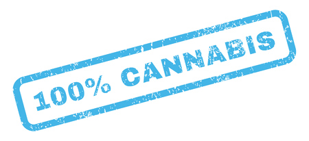 perfectly: 100 Percent Cannabis text rubber seal stamp watermark. Tag inside rectangular shape with grunge design and scratched texture. Slanted vector blue ink sticker on a white background.
