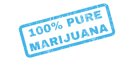 absolute: 100 Percent Pure Marijuana text rubber seal stamp watermark. Caption inside rectangular shape with grunge design and dirty texture. Slanted vector blue ink sign on a white background. Illustration