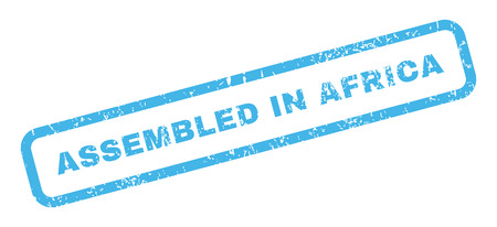 certificated: Assembled In Africa text rubber seal stamp watermark. Caption inside rectangular banner with grunge design and unclean texture. Slanted vector blue ink emblem on a white background.