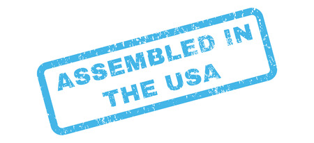 certificated: Assembled In The USA text rubber seal stamp watermark. Tag inside rectangular banner with grunge design and dirty texture. Slanted vector blue ink emblem on a white background.
