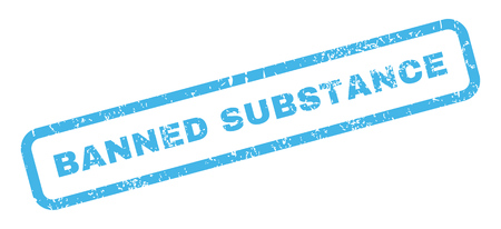 substance: Banned Substance text rubber seal stamp watermark. Tag inside rectangular shape with grunge design and dirty texture. Slanted vector blue ink emblem on a white background. Illustration