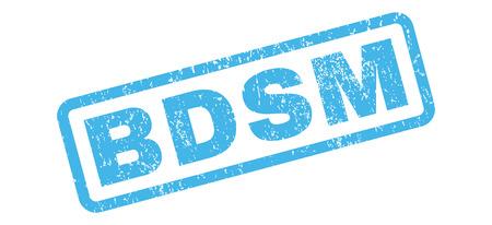 Bdsm テキスト ゴム シール スタンプの透かし。グランジ デザインの長方形の内部タグし、テクスチャをほこり。白の背景に斜めのベクトル青インク