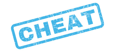 cheat: Cheat text rubber seal stamp watermark. Tag inside rectangular banner with grunge design and unclean texture. Slanted vector blue ink sign on a white background.