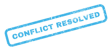 resolved: Conflict Resolved text rubber seal stamp watermark. Caption inside rectangular banner with grunge design and dust texture. Slanted vector blue ink sticker on a white background.