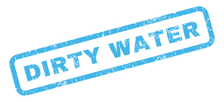 dirty water: Dirty Water text rubber seal stamp watermark. Tag inside rectangular banner with grunge design and dirty texture. Slanted vector blue ink sticker on a white background. Illustration