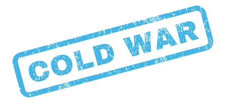 cold war: Cold War text rubber seal stamp watermark. Caption inside rectangular banner with grunge design and dirty texture. Slanted vector blue ink sticker on a white background.