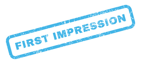 impression: First Impression text rubber seal stamp watermark. Caption inside rectangular banner with grunge design and dirty texture. Slanted vector blue ink sign on a white background.