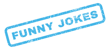 jokes: Funny Jokes text rubber seal stamp watermark. Tag inside rectangular shape with grunge design and unclean texture. Slanted vector blue ink sign on a white background.