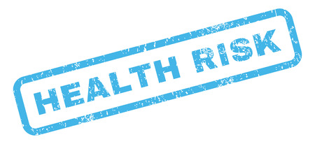 health risk: Health Risk text rubber seal stamp watermark. Caption inside rectangular banner with grunge design and unclean texture. Slanted vector blue ink emblem on a white background. Illustration