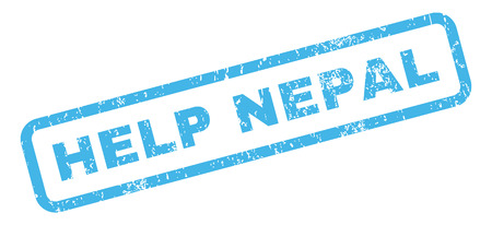disaster relief: Help Nepal text rubber seal stamp watermark. Caption inside rectangular banner with grunge design and scratched texture. Slanted vector blue ink sign on a white background.