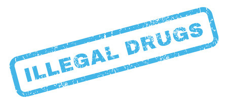 illegal drugs: Illegal Drugs text rubber seal stamp watermark. Tag inside rectangular banner with grunge design and dust texture. Slanted vector blue ink emblem on a white background. Illustration