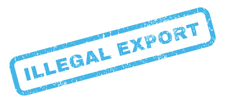 illegal: Illegal Export text rubber seal stamp watermark. Caption inside rectangular shape with grunge design and scratched texture. Slanted vector blue ink emblem on a white background. Illustration