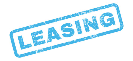 leasing: Leasing text rubber seal stamp watermark. Caption inside rectangular shape with grunge design and unclean texture. Slanted vector blue ink emblem on a white background.