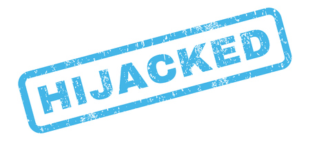 hijacked: Hijacked text rubber seal stamp watermark. Caption inside rectangular shape with grunge design and scratched texture. Slanted vector blue ink emblem on a white background.