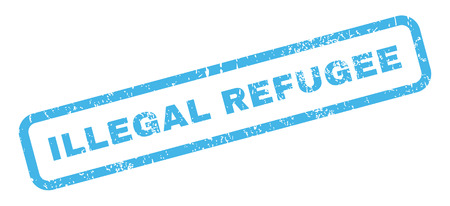 illegal: Illegal Refugee text rubber seal stamp watermark. Tag inside rectangular shape with grunge design and scratched texture. Slanted vector blue ink emblem on a white background.