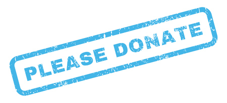 subsidize: Please Donate text rubber seal stamp watermark. Tag inside rectangular banner with grunge design and scratched texture. Slanted vector blue ink sign on a white background. Illustration