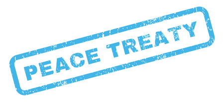 treaty: Peace Treaty text rubber seal stamp watermark. Tag inside rectangular shape with grunge design and dirty texture. Slanted vector blue ink sticker on a white background.