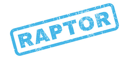raptor: Raptor text rubber seal stamp watermark. Tag inside rectangular banner with grunge design and scratched texture. Slanted vector blue ink sign on a white background.