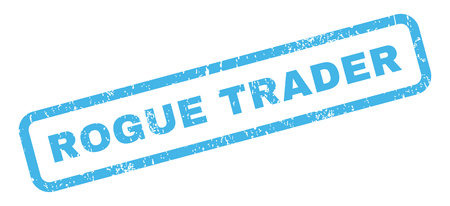 rogue: Rogue Trader text rubber seal stamp watermark. Caption inside rectangular banner with grunge design and dirty texture. Slanted vector blue ink sticker on a white background.