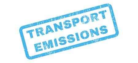 emissions: Transport Emissions text rubber seal stamp watermark. Tag inside rectangular banner with grunge design and scratched texture. Slanted vector blue ink emblem on a white background. Illustration