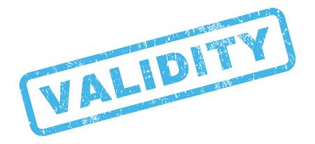 validez: Validez texto de la marca sello de junta de goma. En etiqueta bandera rectangular con diseño de grunge y textura rayado. Inclinada vector emblema de tinta azul sobre un fondo blanco.