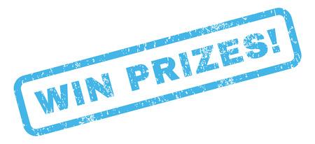Win prijzen! rubber zegel stempel tekstwatermerk. Label in rechthoekige vorm met grunge-ontwerp en onreine textuur. Gehelde vector blauwe inktsticker op een witte achtergrond. Vector Illustratie