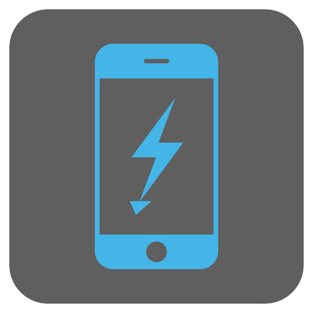 disaster supplies: Electric Mobile Phone vector icon. Image style is a flat icon symbol on a rounded square button, light blue and gray colors.