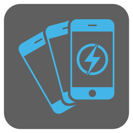 disaster supplies: Mobile Phones Energy vector icon. Image style is a flat icon symbol in a rounded square button, light blue and gray colors.