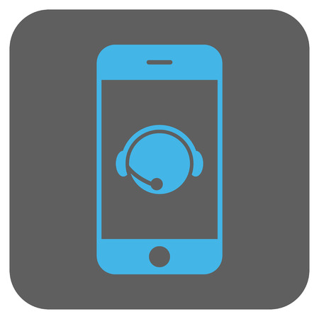 talker: Smartphone Operator Contact Head vector icon. Image style is a flat icon symbol inside a rounded square button, light blue and gray colors. Illustration