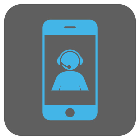 talker: Smartphone Operator Contact Portrait vector icon. Image style is a flat icon symbol on a rounded square button, light blue and gray colors.