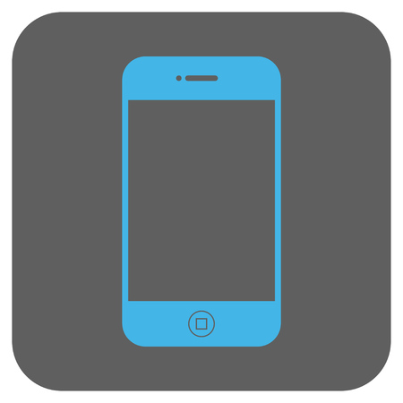 electronic organizer: Smartphone vector icon. Image style is a flat icon symbol in a rounded square button, light blue and gray colors. Illustration
