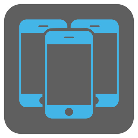 electronic organizer: Smartphones vector icon. Image style is a flat icon symbol on a rounded square button, light blue and gray colors.