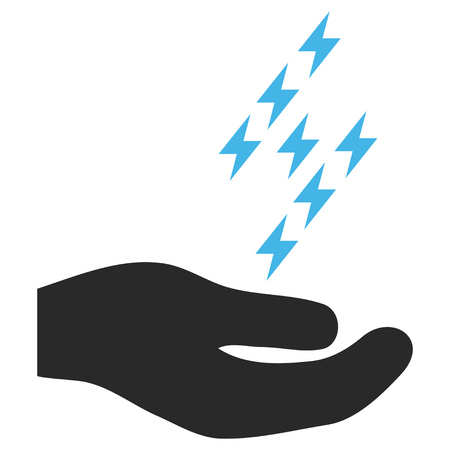 enforce: Electric Energy Offer Hand EPS glyph icon. Illustration style is flat iconic bicolor blue and gray symbol on white background. Stock Photo