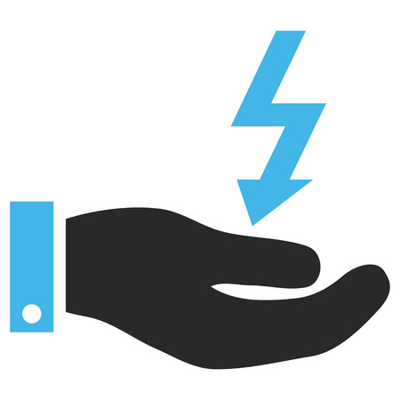 enforce: Electric Energy Service Hand EPS glyph pictogram. Illustration style is flat iconic bicolor blue and gray symbol on white background.