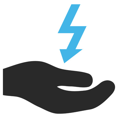enforce: Electricity Supply Hand EPS glyph pictogram. Illustration style is flat iconic bicolor blue and gray symbol on white background. Stock Photo