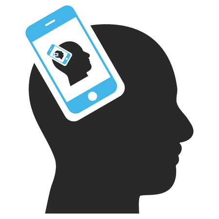 plugin: Smartphone Head Plugin Recursion EPS glyph icon. Illustration style is flat iconic bicolor blue and gray symbol on white background.