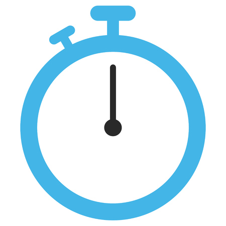 Stopwatch EPS glyph pictogram. Illustration style is flat iconic bicolor blue and gray symbol on white background. Stock Photo