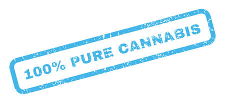 absolute: 100 Percent Pure Cannabis text rubber seal stamp watermark. Caption inside rectangular banner with grunge design and dust texture. Slanted glyph blue ink sticker on a white background.