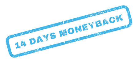 moneyback: 14 Days Moneyback text rubber seal stamp watermark. Caption inside rectangular shape with grunge design and dirty texture. Slanted glyph blue ink sticker on a white background. Stock Photo