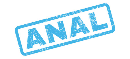 anal: Anal text rubber seal stamp watermark. Tag inside rectangular banner with grunge design and unclean texture. Slanted glyph blue ink sticker on a white background. Stock Photo