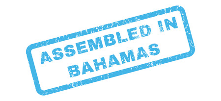 bahamian: Assembled In Bahamas text rubber seal stamp watermark. Tag inside rectangular shape with grunge design and scratched texture. Slanted glyph blue ink emblem on a white background.